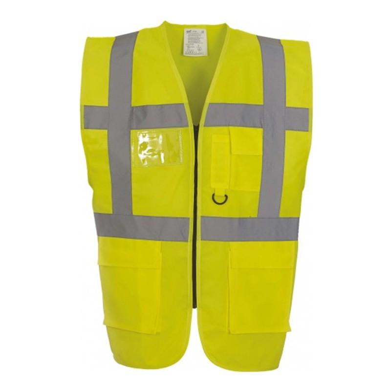 Gilet de sécurité fermeture HVW 801 marque Yoko - couleur jaune fluo