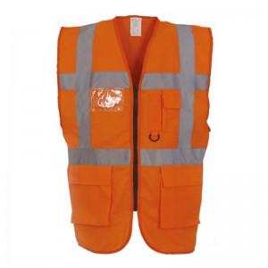 Gilet de sécurité fermeture HVW 801 marque Yoko - couleur orange fluo