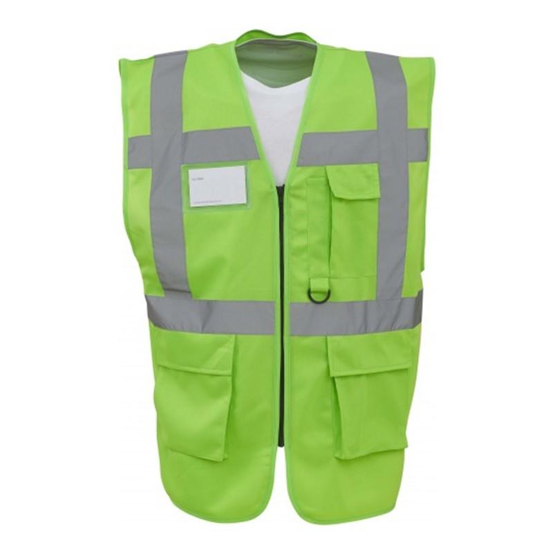 Gilet de sécurité fermeture HVW 801 marque Yoko - couleur vert clair