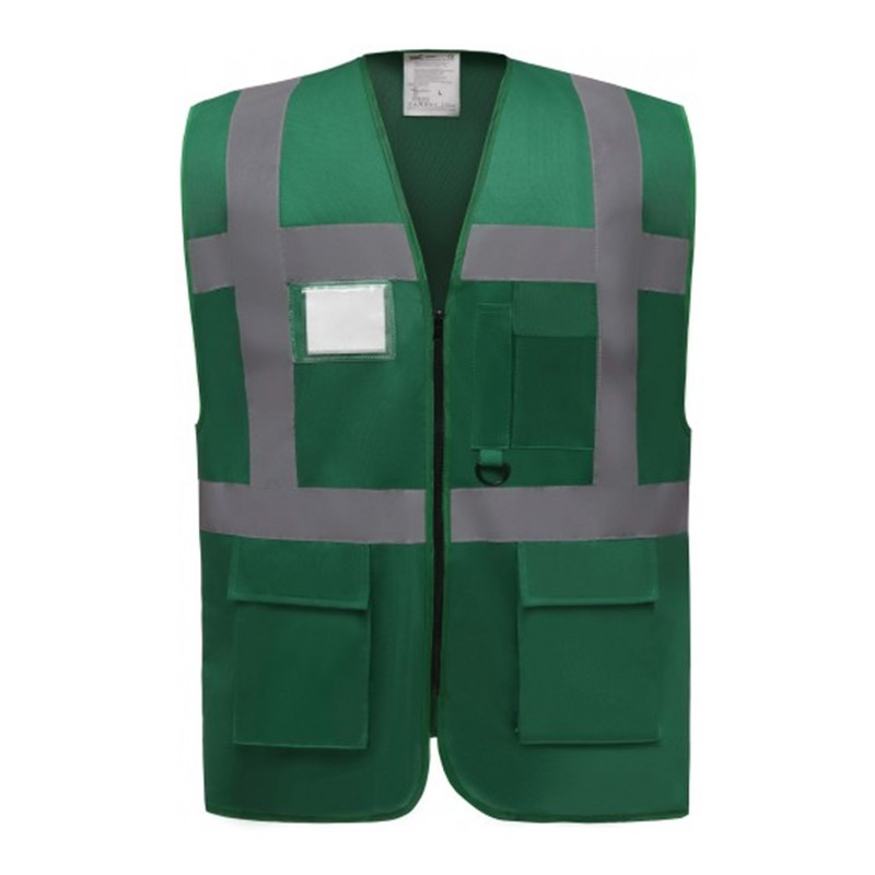 Gilet de sécurité fermeture HVW 801 marque Yoko - couleur vert foncé