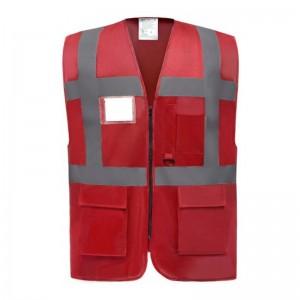 Gilet de sécurité fermeture HVW 801 marque Yoko - couleur rouge