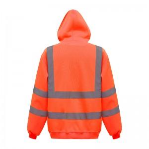 Sweatshirt à capuche fluo HVK05 marque Yoko - couleur orange fluo avec bandes rétroréfléchissantes