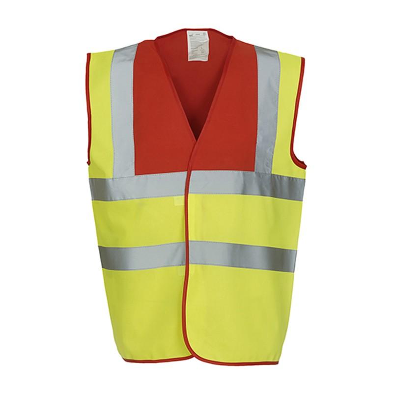 Gilet de sécurité HVW 100 marque Yoko - bicolore couleur jaune et rouge