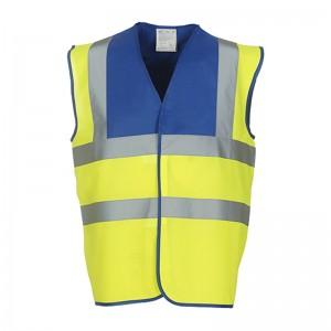 Gilet de sécurité HVW 100 marque Yoko - bicolore couleur jaune fluo et bleu royal