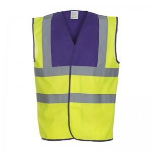 Gilet de sécurité HVW 100 marque Yoko - bicolore couleur jaune fluo et violet