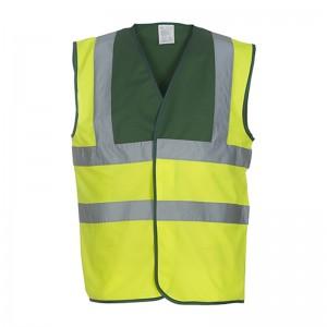 Gilet de sécurité HVW 100 marque Yoko - bicolore couleur jaune fluo et vert clair