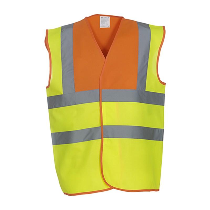 Gilet de sécurité HVW 100 marque Yoko - bicolore couleur jaune fluo et orange fluo