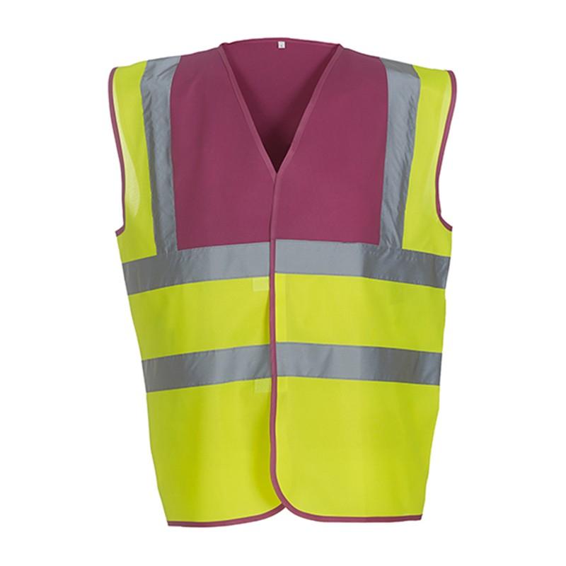 Gilet de sécurité HVW 100 marque Yoko - bicolore couleur jaune fluo et rose