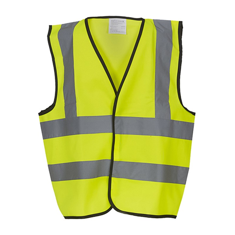 Gilet de sécurité enfant  haute visibilité 4 bandes rétro réfléchissante hvw100CH marque yoko jaune fluo