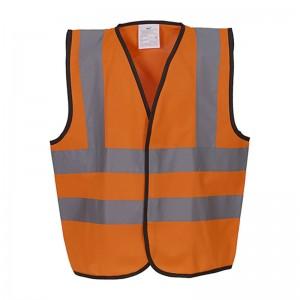 Gilet de sécurité enfant  haute visibilité 4 bandes rétro réfléchissante hvw100CH marque yoko orange fluo