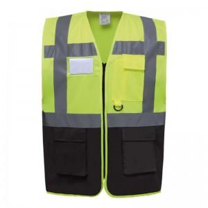 Gilet de sécurité fermeture HVW 801 marque Yoko - couleur bicolore jaune fluo et noir