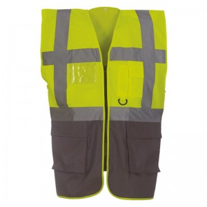 Gilet de sécurité fermeture HVW 801 marque Yoko - couleur bicolore jaune fluo et gris