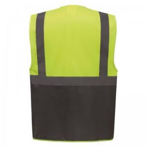 Personnaliser au dos le gilet de sécurité bicolore HVW801 jaune fluo et gris