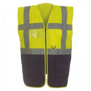 Gilet de sécurité fermeture HVW 801 marque Yoko - couleur bicolore jaune fluo et bleu marine