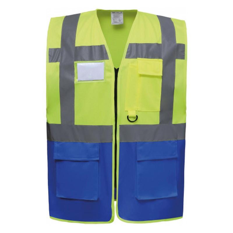 Gilet de sécurité fermeture HVW 801 marque Yoko - couleur bicolore jaune fluo et bleu royal