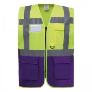 Gilet de sécurité fermeture HVW 801 marque Yoko - couleur bicolore jaune fluo et violet