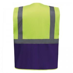 Personnaliser au dos le gilet de sécurité bicolore HVW801 jaune fluo et violet