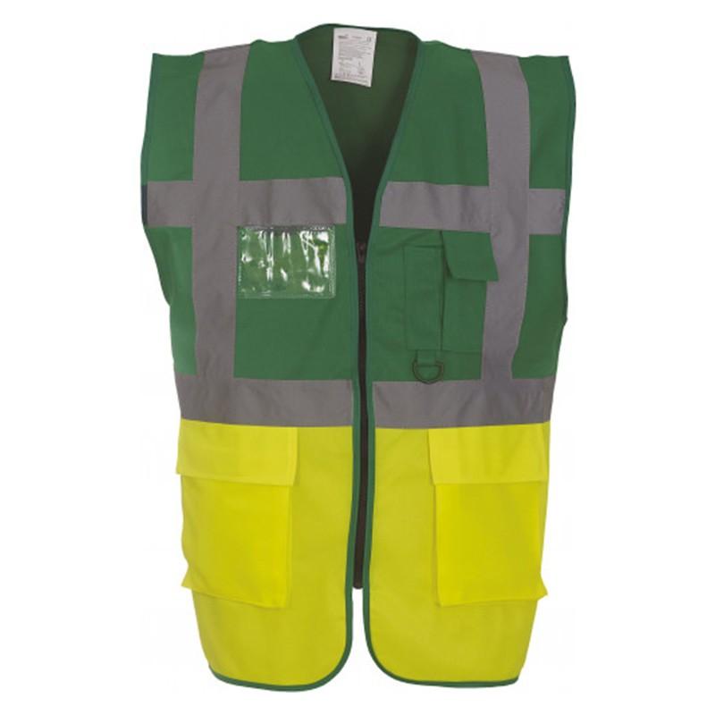 Gilet de sécurité fermeture HVW 801 marque Yoko - couleur bicolore vert et jaune fluo