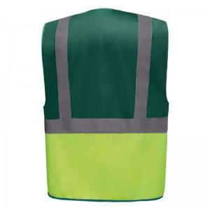 Personnaliser au dos le gilet de sécurité bicolore HVW801 vert et jaune fluo