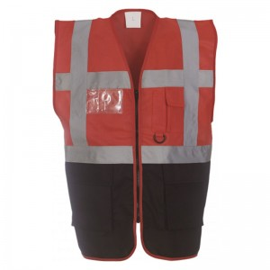 Gilet de sécurité fermeture HVW 801 marque Yoko - couleur bicolore rouge et noir