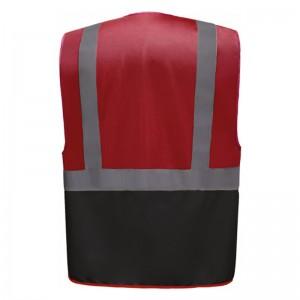 Personnaliser au dos le gilet de sécurité bicolore HVW801 rouge et noir