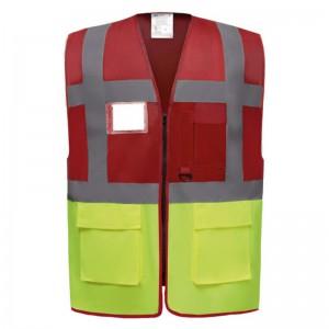 Gilet de sécurité fermeture HVW 801 marque Yoko - couleur bicolore rouge et jaune fluo