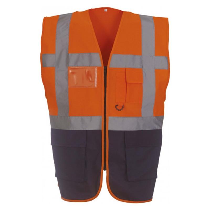 Gilet de sécurité fermeture HVW 801 marque Yoko - couleur bicolore orange et bleu marine