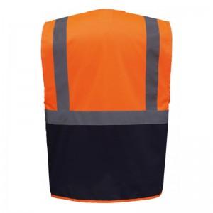 Personnaliser au dos le gilet de sécurité bicolore HVW801 rouge et jaune fluo