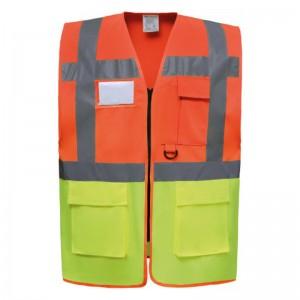 Gilet de sécurité fermeture HVW 801 marque Yoko - couleur bicolore orange et jaune fluo