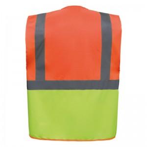 Personnaliser au dos le gilet de sécurité bicolore HVW801 orange et jaune fluo