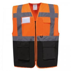 Gilet de sécurité fermeture HVW 801 marque Yoko - couleur bicolore orange et noir
