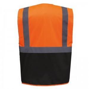 Personnaliser au dos le gilet de sécurité bicolore HVW801 orange et noir