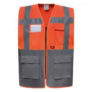 Gilet de sécurité fermeture HVW 801 marque Yoko - couleur bicolore orange et gris