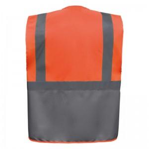 Personnaliser au dos le gilet de sécurité bicolore HVW801 orange et gris