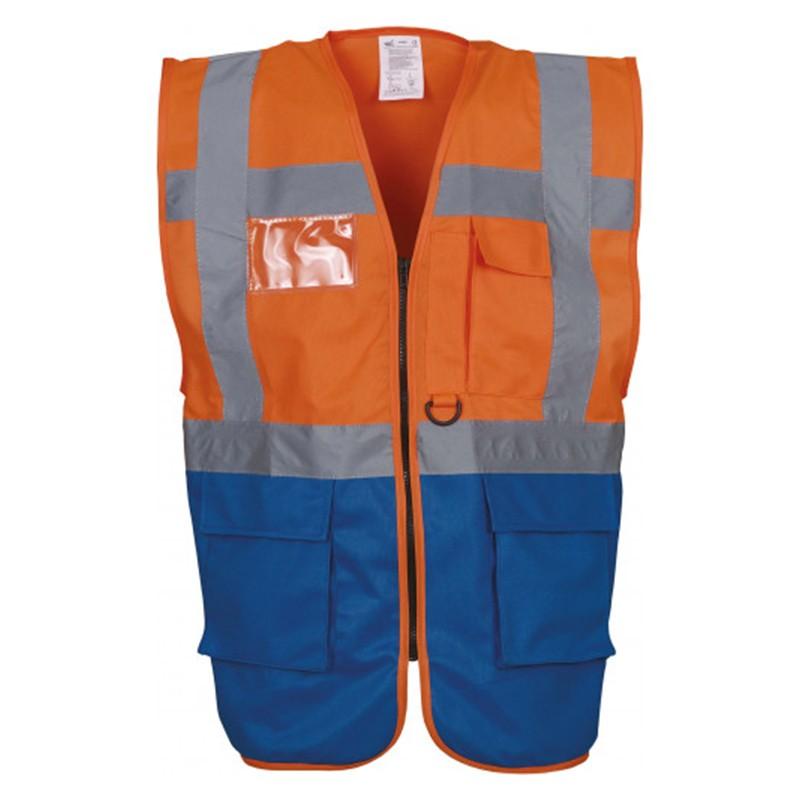 Gilet de sécurité fermeture HVW 801 marque Yoko - couleur bicolore orange et bleu royal