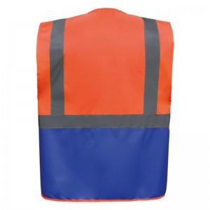 Personnaliser au dos le gilet de sécurité bicolore HVW801 orange et bleu roi