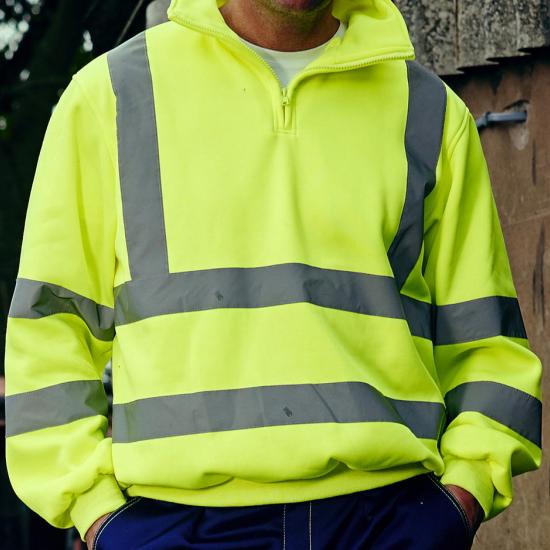 sweatshirt jaune fluo de sécurité haute visibilité EPI personnalise